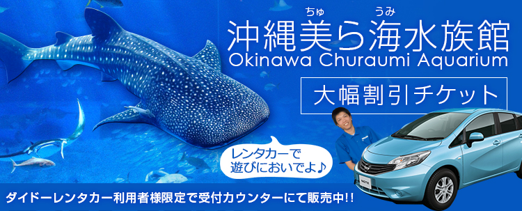 沖縄の人気観光スポット!美ら海水族館大幅割引チケット+レンタカープラン